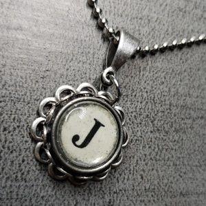 Jewelry - Alphabet initial J typewriter charm necklace